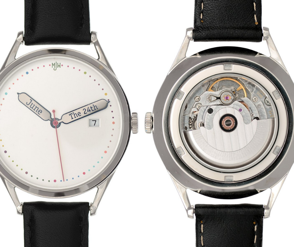 Silver customisable watch with a Swiss made mechanical movement that is visible through the case back