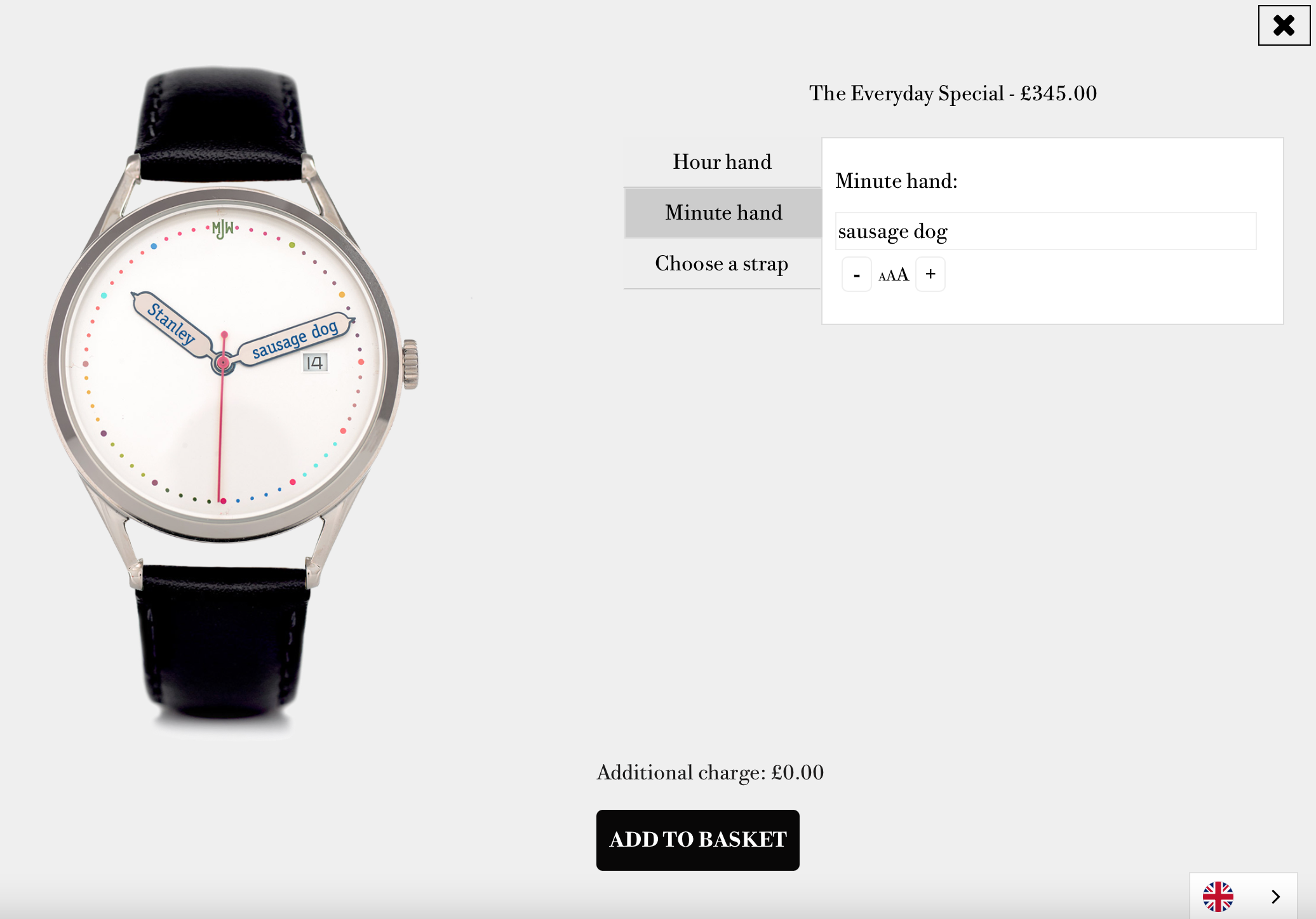 A watch with customisable hands