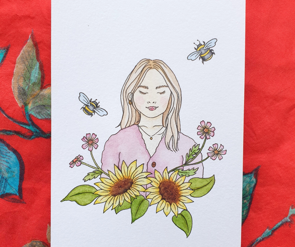 Sketch of a girl with sunflowers and bees