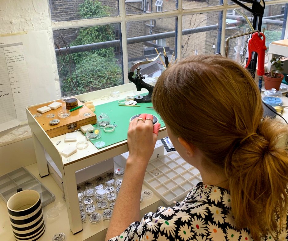 Watchmaker in London workshop