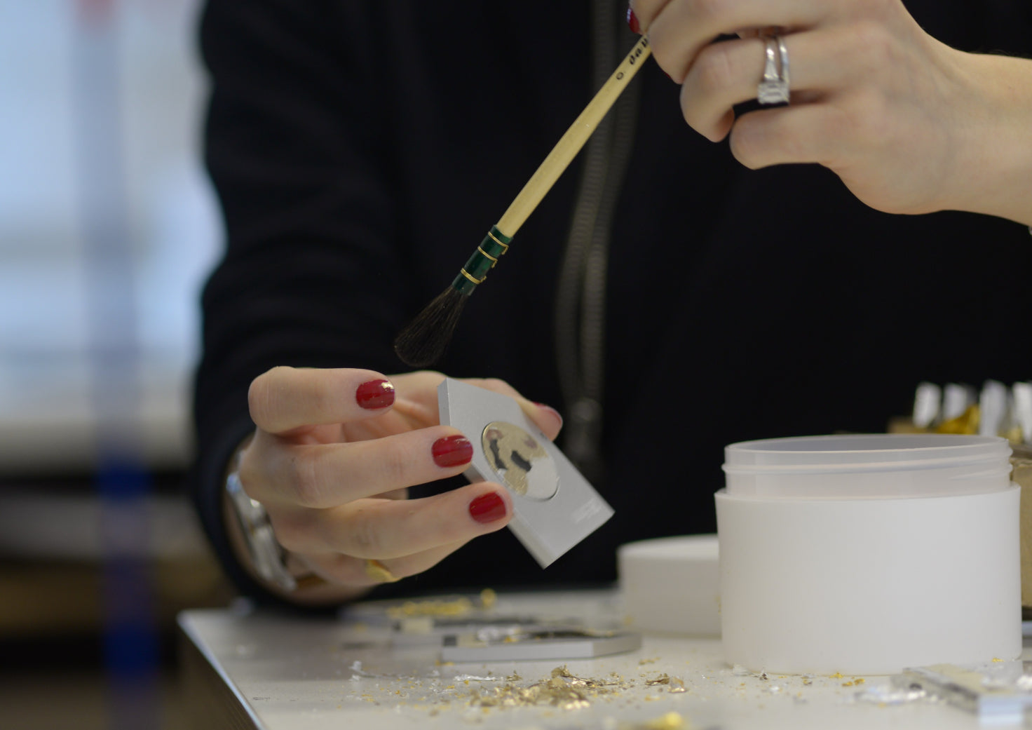Gilding the Nuage watch in our London studio.