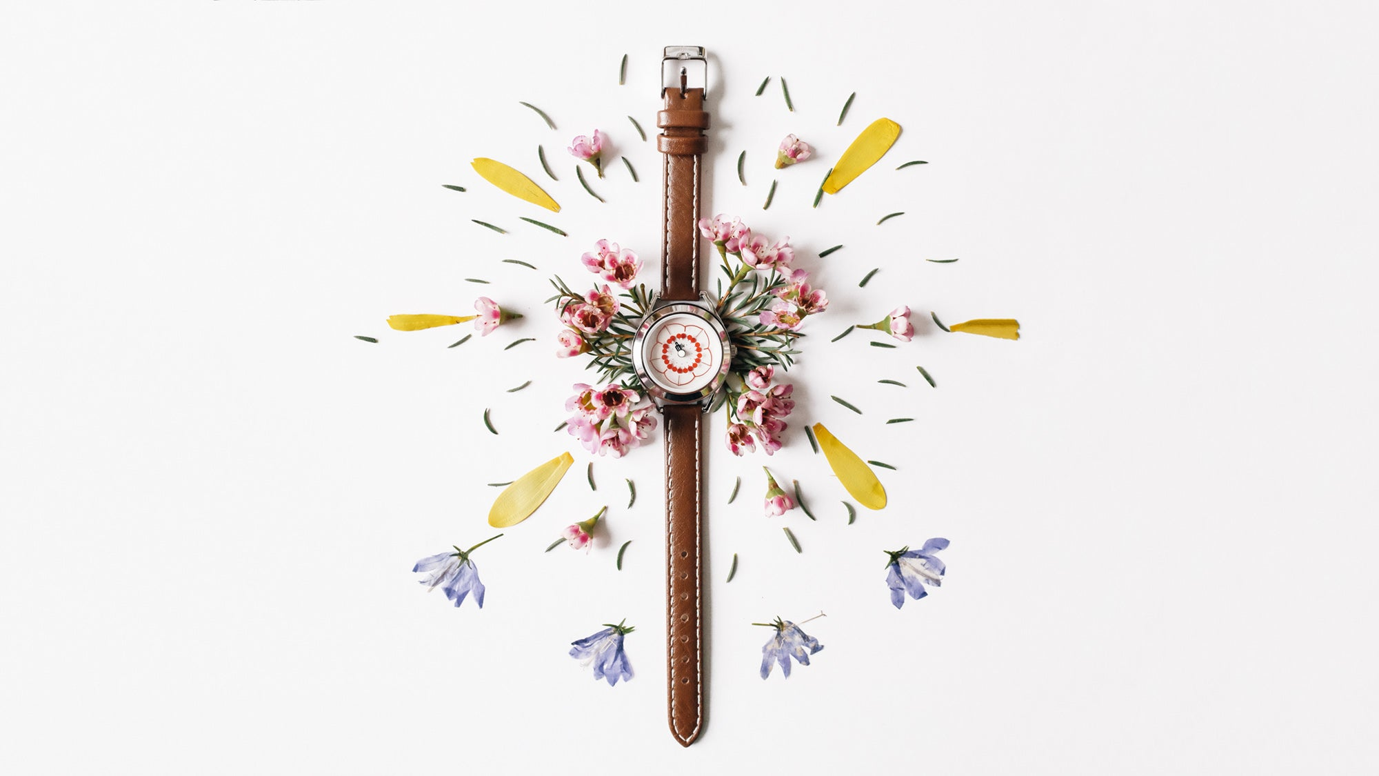 Cherry watch with flowers