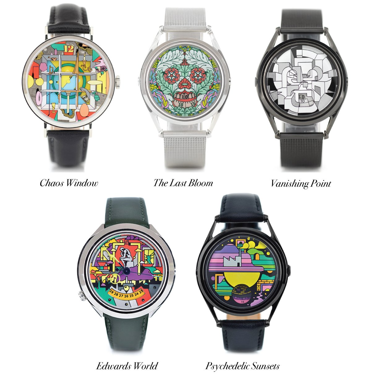 watches designed by artist and illustrator, Edward Carvalho-Monaghan