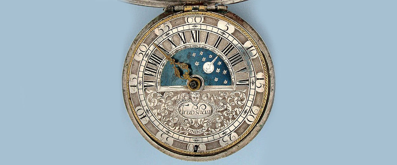 An English made Sun and Moon watch dating from 1695 made by John Trubshaw.