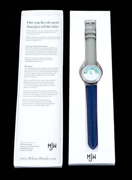 The Miyamoto watch in Mr Jones Watches packaging.