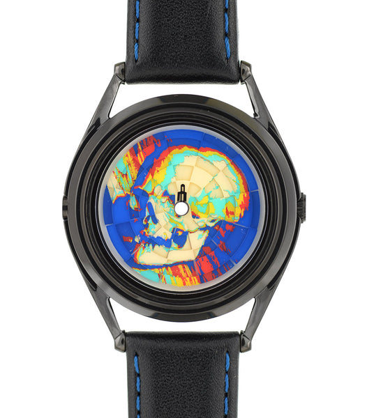 Ambassador colourful skull watch by Mr Jones Watches - flat view full skull