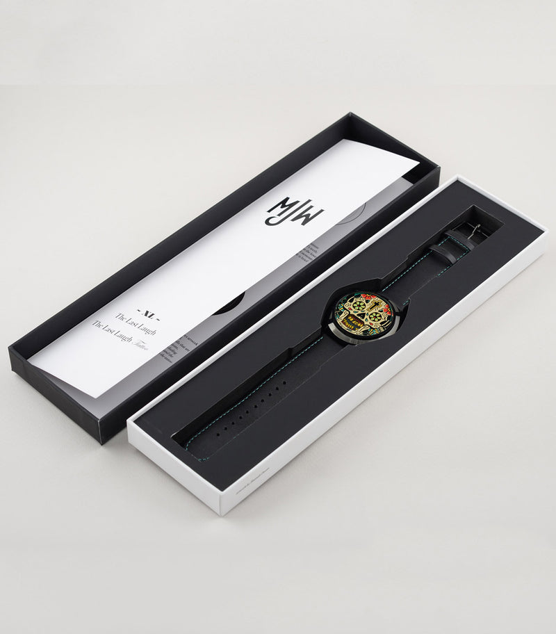 Last Laugh Tattoo XL sugar skull watch in Mr Jones Watches packaging box.