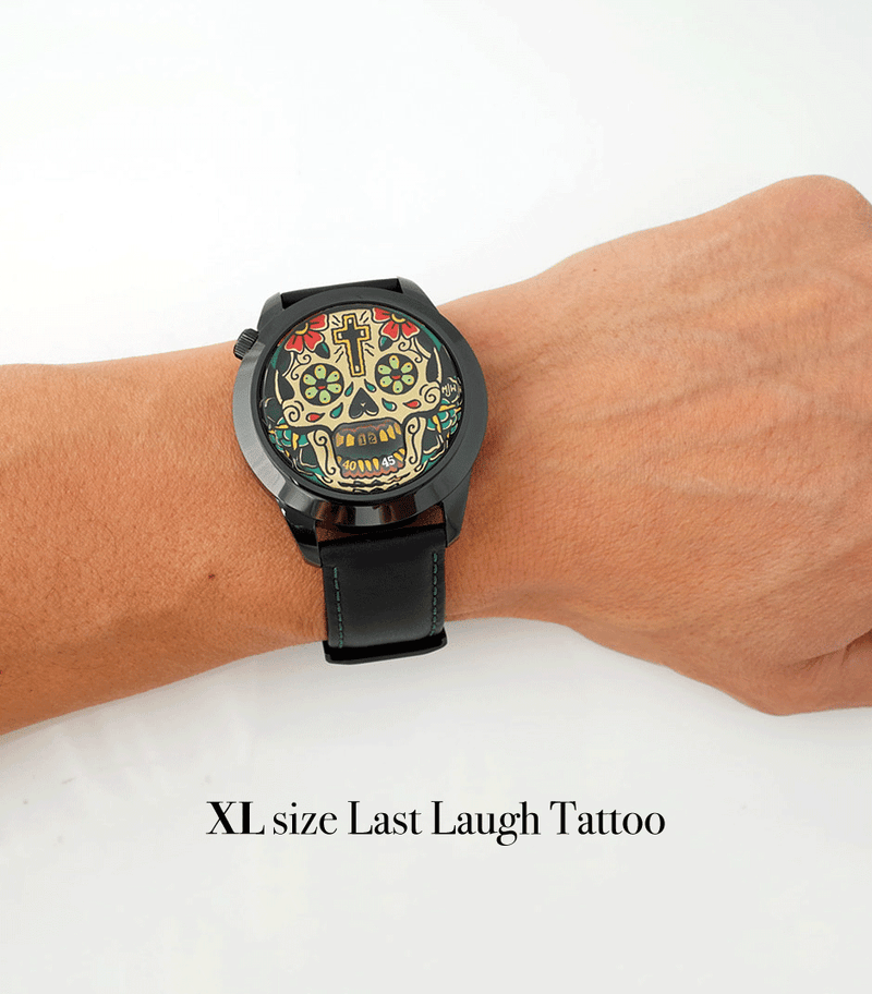 Example of the large size of the Last Laugh Tattoo XL watch