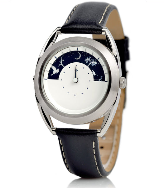 Sun and Moon unisex watch - displaying the time at night