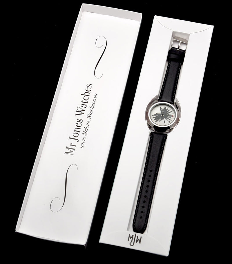 The Time Traveller watch in Mr Jones Watches packaging