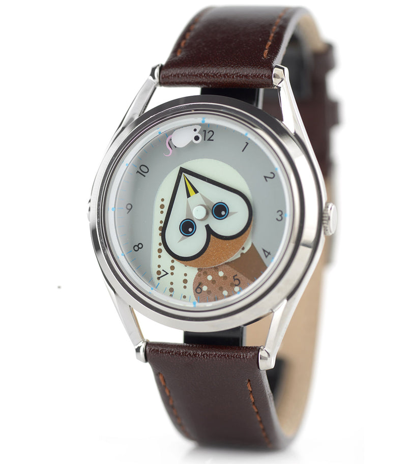 Timewise owl watch, side view