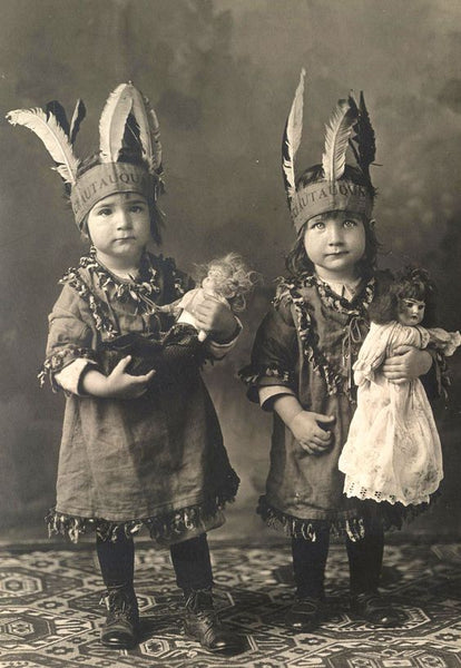 Vintage childhood photograph, costume, family plays