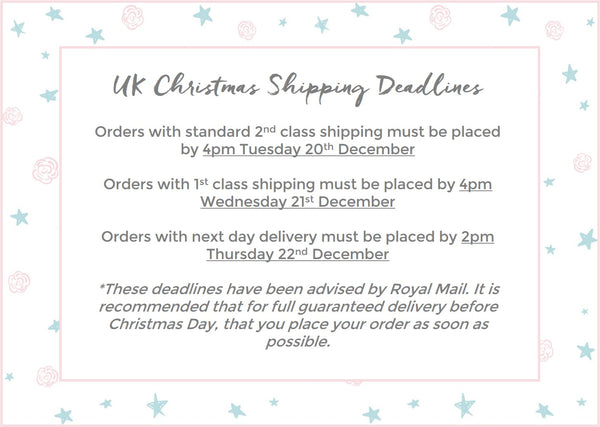 Roses and the Stars Christmas Delivery Deadlines