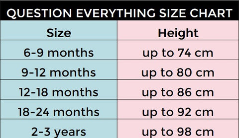 Question Everything Size Chart