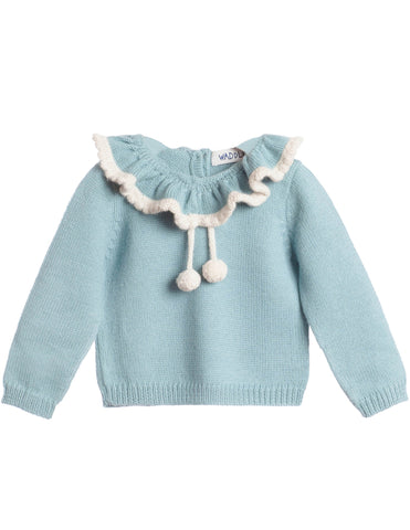 Waddler Pom Pom Jumper, Ocean Blue | Roses and the Stars