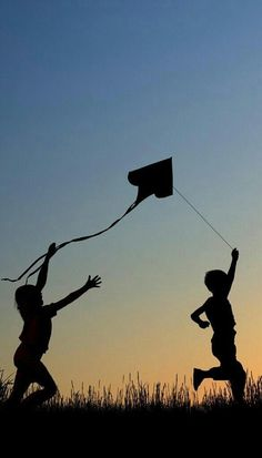 Children flying kites