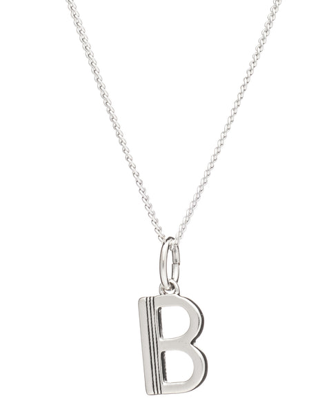 B Initial Necklace, Sterling Silver, Rachel Jackson London | Roses and the Stars