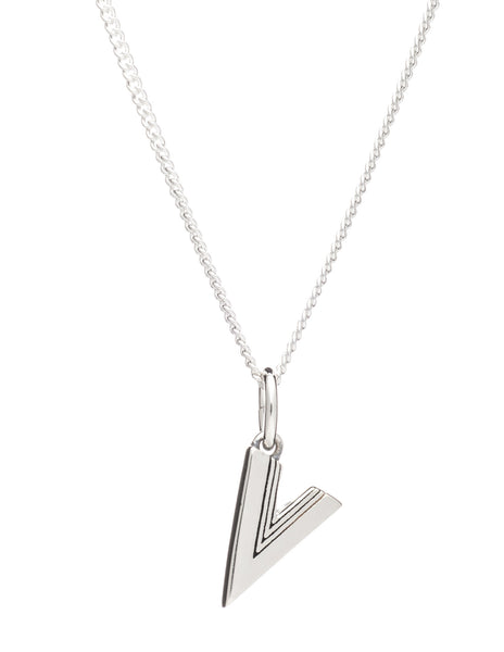 V Initial Necklace, Sterling Silver, Rachel Jackson London | Roses and the Stars