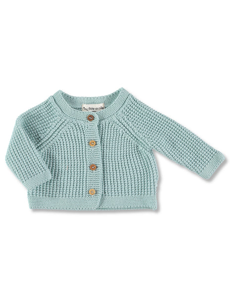 Buy My Little Cozmo Cotton Cardigan, Sea Green | Roses and the Stars