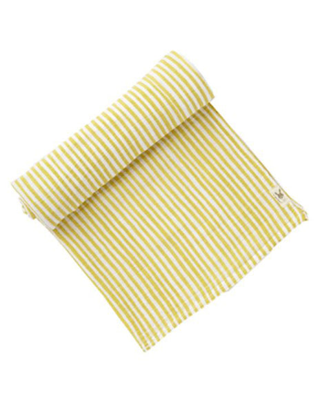 Cotton Muslin Swaddle for baby, yellow stripe | Roses and the Stars