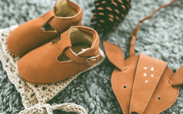 Buy Donsje, Truffle Brown Suede Baby Buckle Shoes | Roses and the Stars