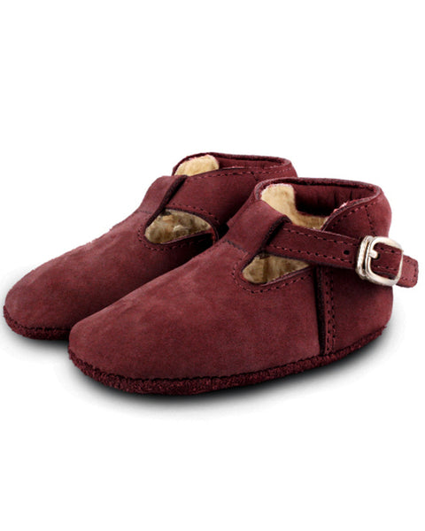 Buy Donsje, Berry Suede Baby Buckle Shoes | Roses and the Stars