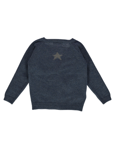 Buy Olivier Baby Star Cashmere Cardigan in Denim | Roses and the Stars