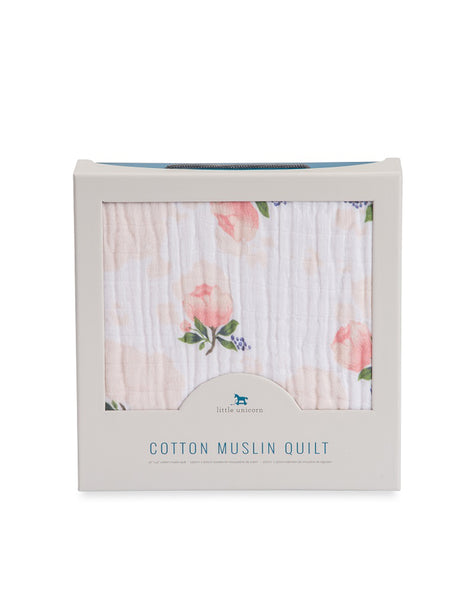 Buy Little Unicorn Cotton Quilt, Watercolour Rose | Roses and the Stars