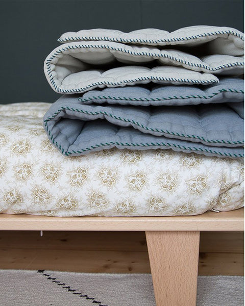 Buy Camomile London, baby blanket, quilt, eiderdown, aqua blue | Roses and the Stars
