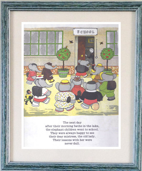 Babar the elephant, framed print, school