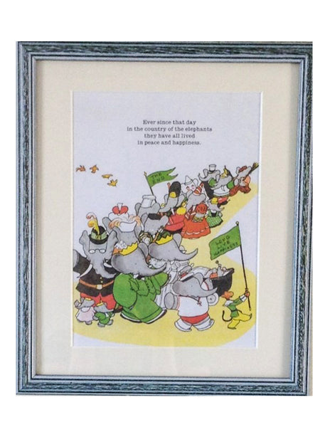 Babar the elephant, framed print, wedding