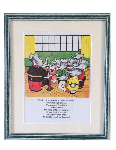 Babar the elephant, framed print, singing