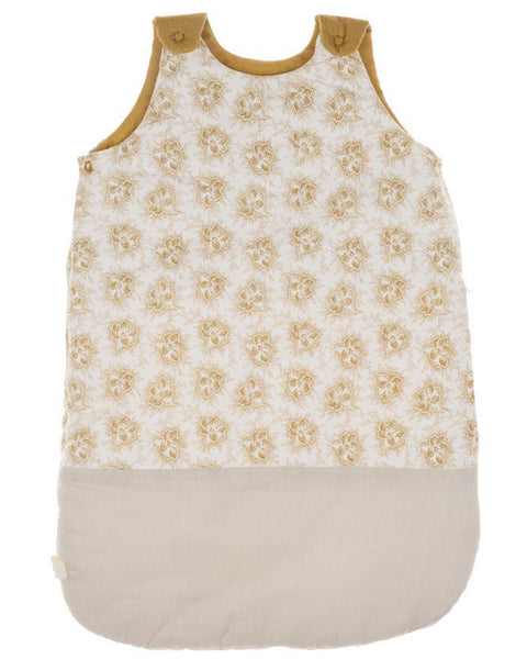 Buy Camomile London, baby sleeping bag, baby bedding, gold floral print | Roses and the Stars