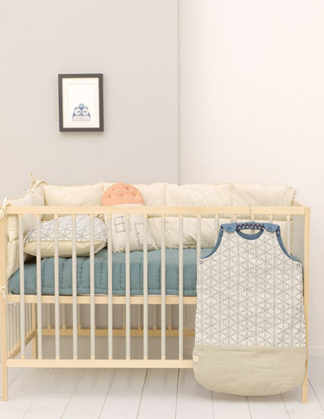 Buy Camomile London, baby sleeping bag, baby bedding, blue dash star print | Roses and the Stars
