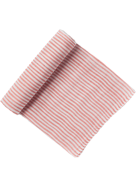 Cotton Petit Pehr Muslin Swaddle for baby, pink stripe | Roses and the Stars