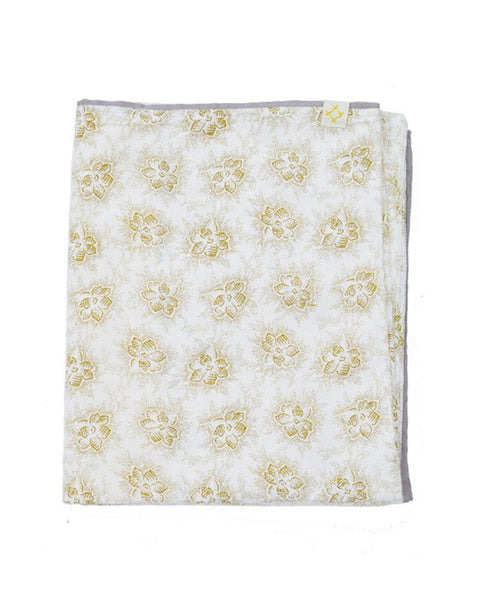 Buy Camomile London, cot bed duvet cover, baby bedding, gold foral print | Roses and the Stars