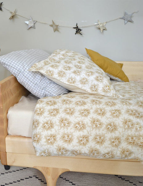 Buy Camomile London, cot bed duvet cover, baby bedding, gold floral print | Roses and the Stars