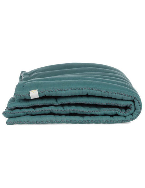 Buy Camomile London, baby blanket, quilt, eiderdown, teal green | Roses and the Stars