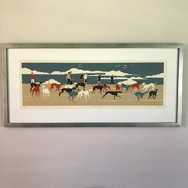 'Whippet Walk' - Limited Edition Hand Printed Silk Screen Print by Eliza Southwood