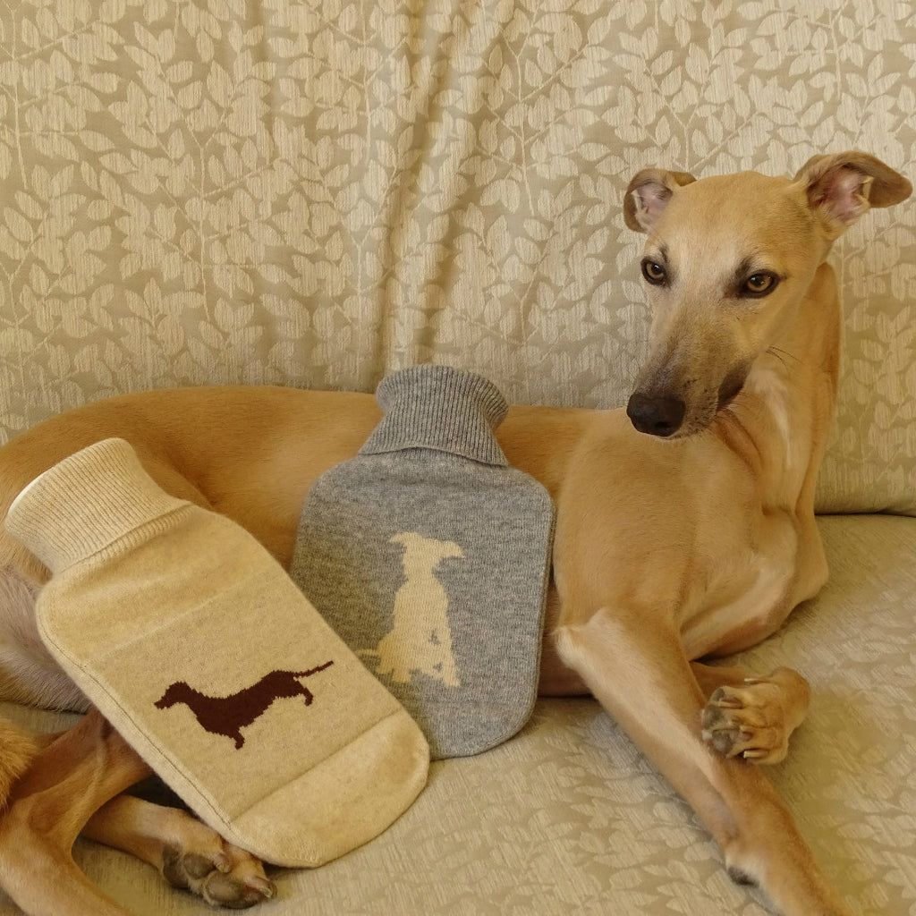 Whippet Pup & Sausage Dog Cashmere Hot Water Bottle Covers