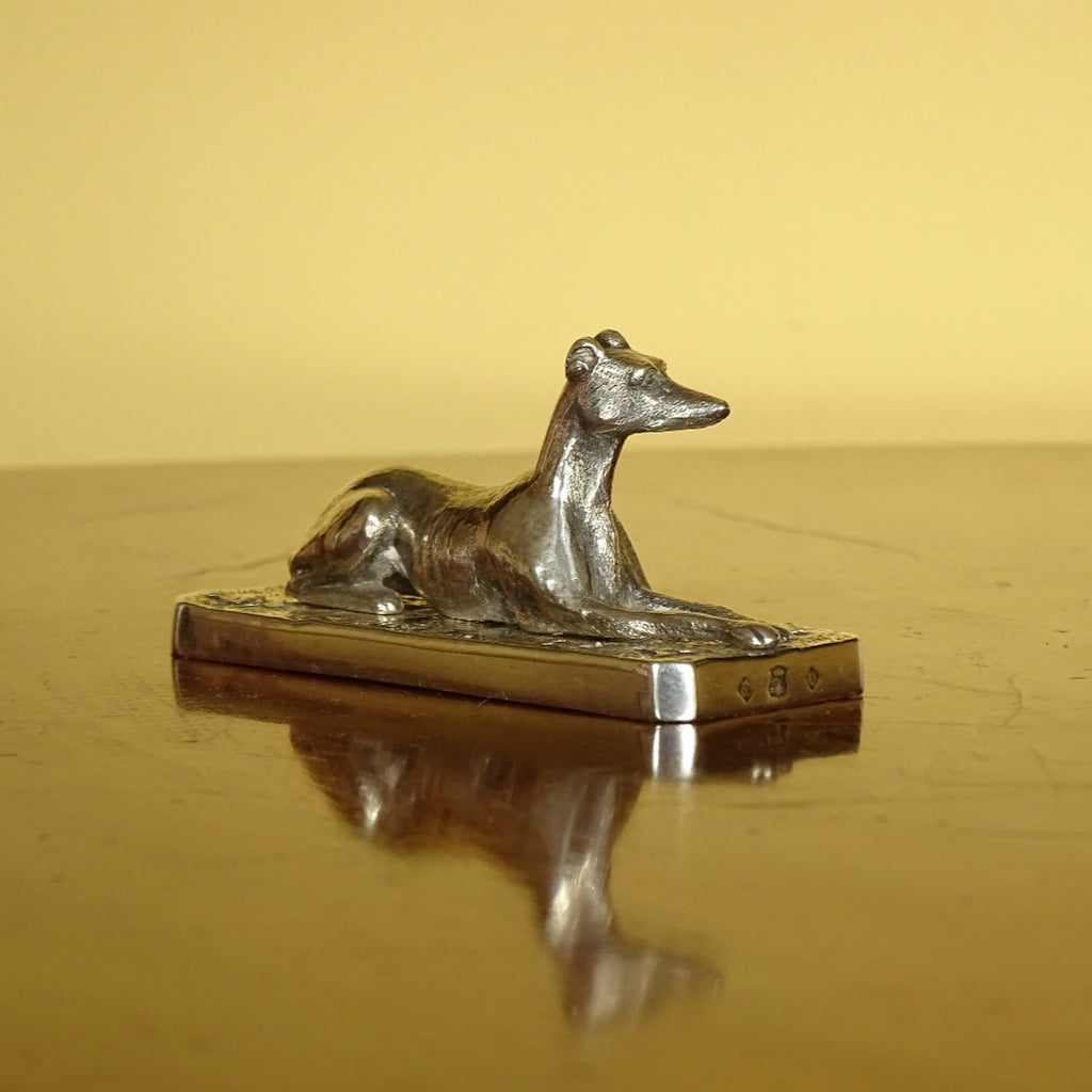 Elkington & Co. Recumbent Sighthound Paperweight ***SOLD***
