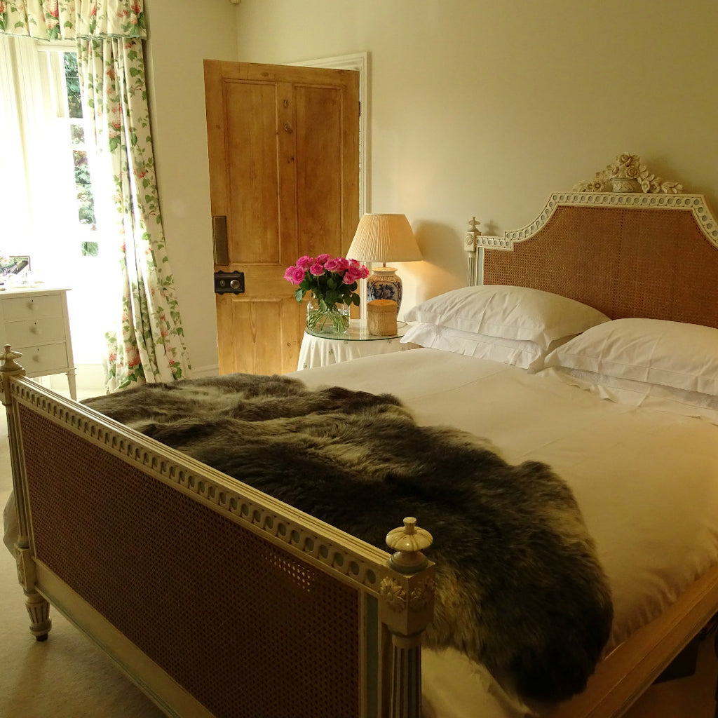 Double Herdwick sheepskin on a bed
