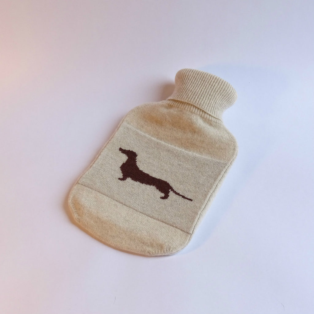 Cashmere hot water bottle with dachshund design