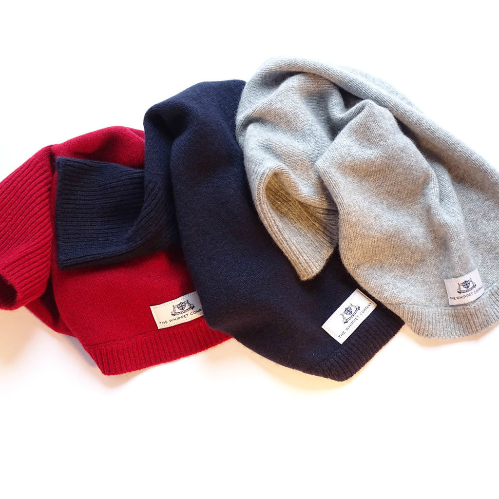Cashmere sighthound jumpers, claret, midnight blue & mist