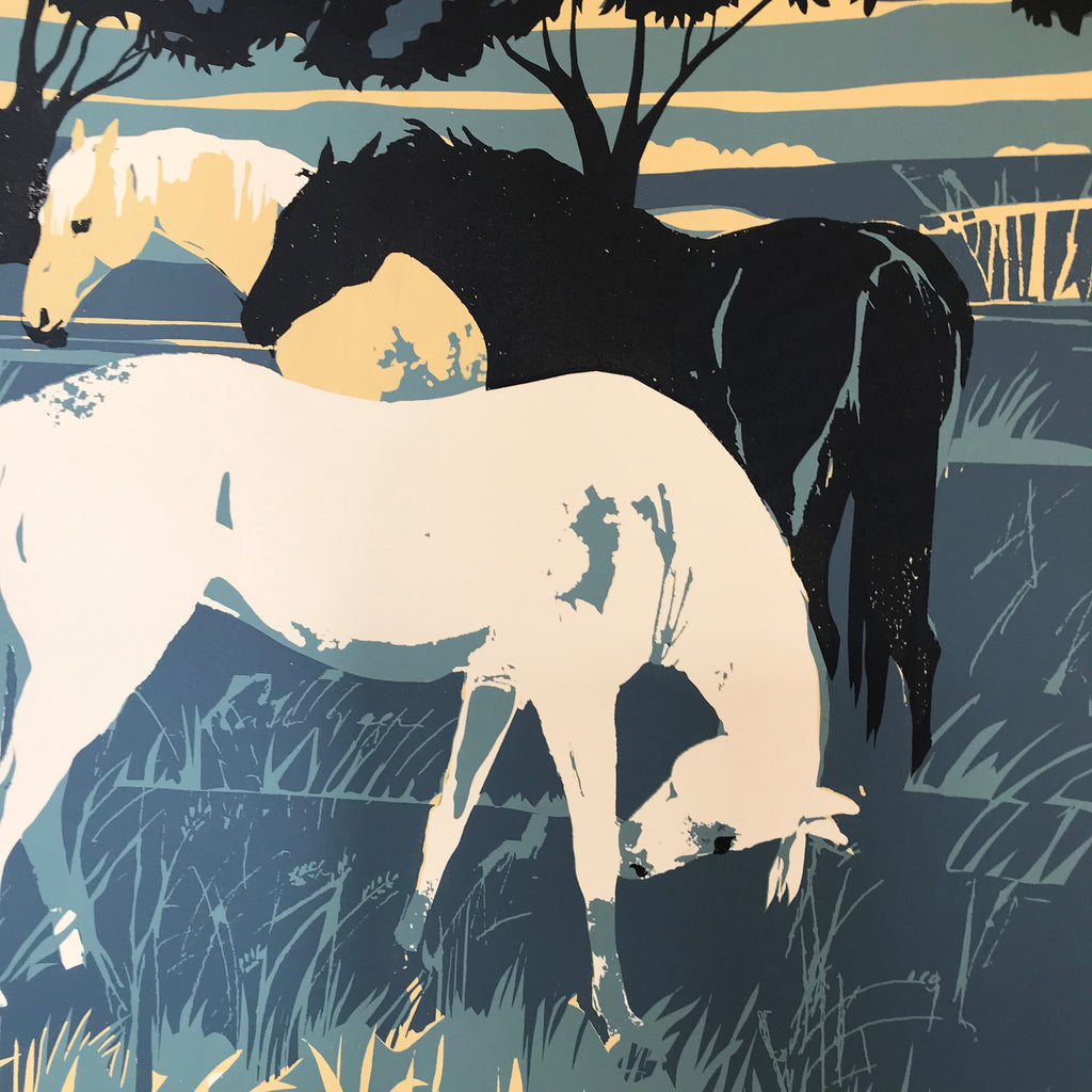 'Grazing Horses' Limited Edition Hand Printed Silk Screen Print by Eliza Southwood