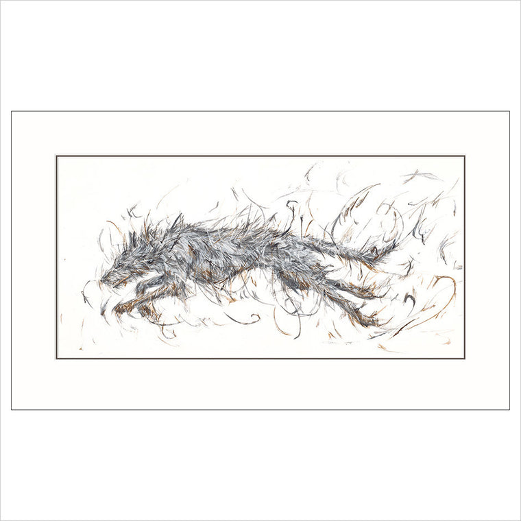 Running hairy lurcher fine art print unframed