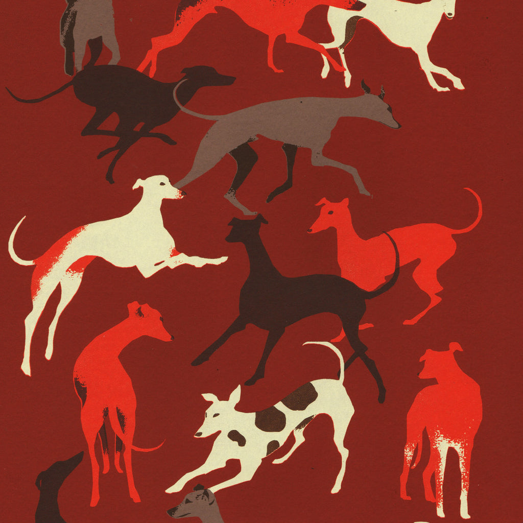 'Gazehounds' - Limited Edition Hand Printed Sighthound Silk Screen Print by Eliza Southwood