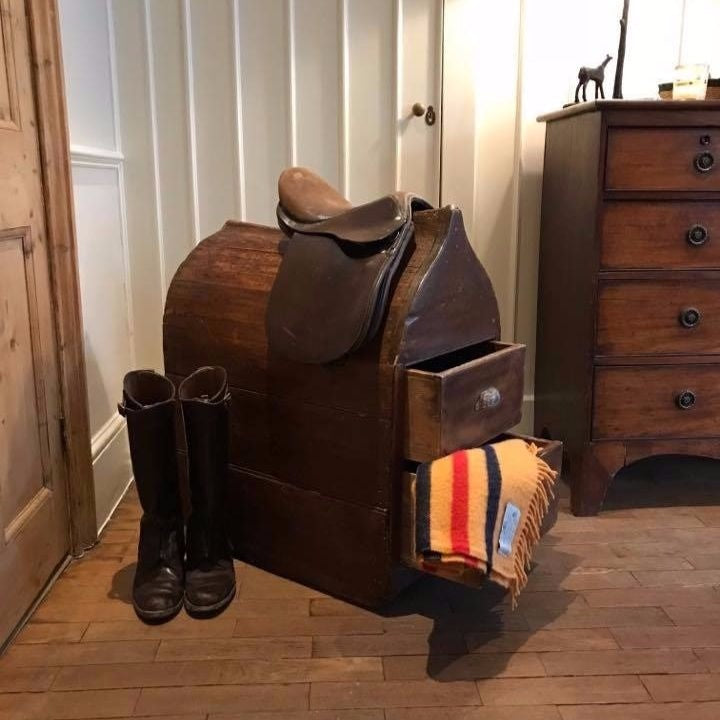 Victorian Pine Saddle Horse with Drawers