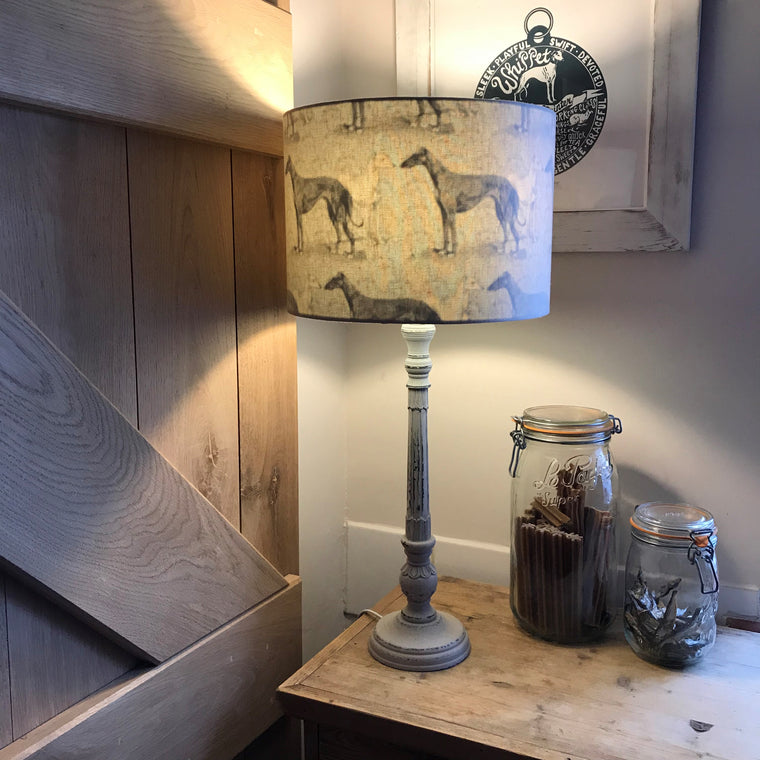 French Grey Lamp Base with Inside Out Sighthound sLampshade