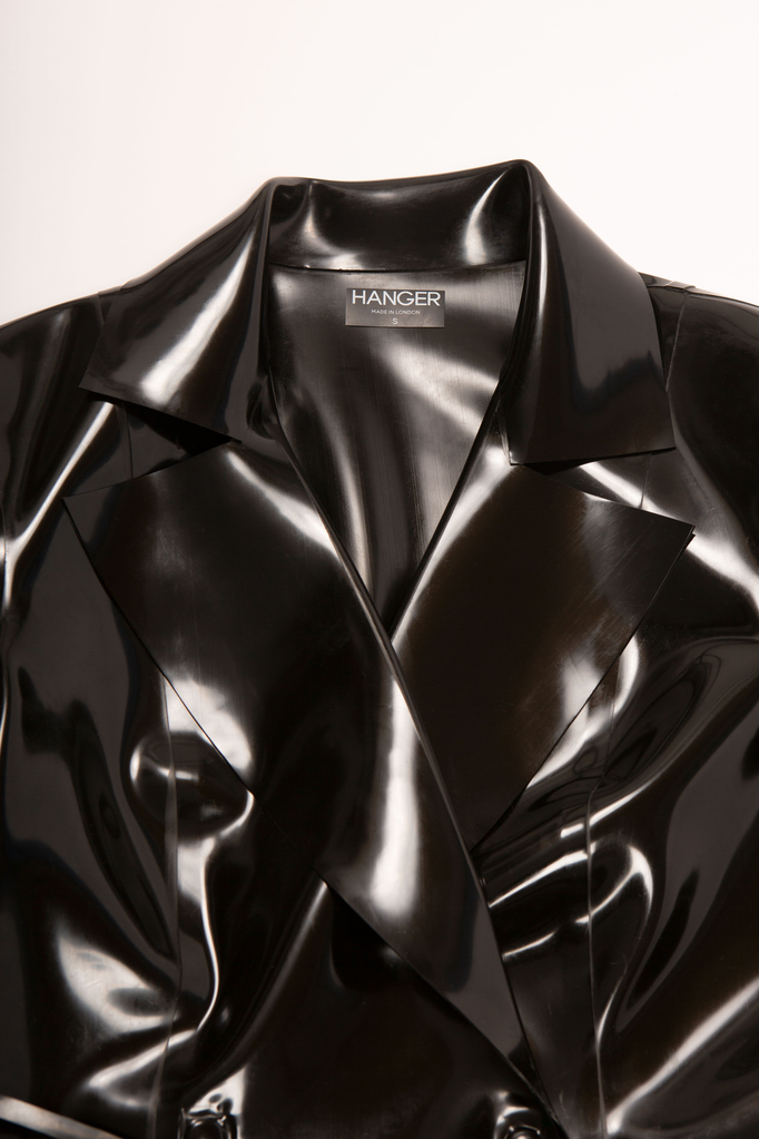 Doresu Belt Jacket Black Latex Jacket - HANGER inc - Made in London Sustainable Ethical Designer Fashion Latex Rubber Clothing
